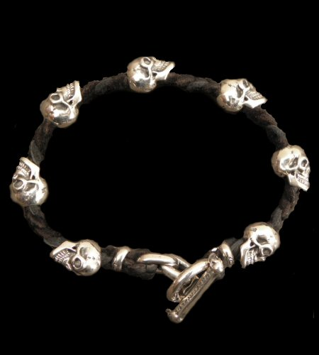 画像1: Quarter 7Skulls braid leather bracelet