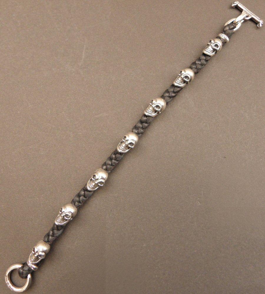 画像2: Quarter 7Skulls braid leather bracelet