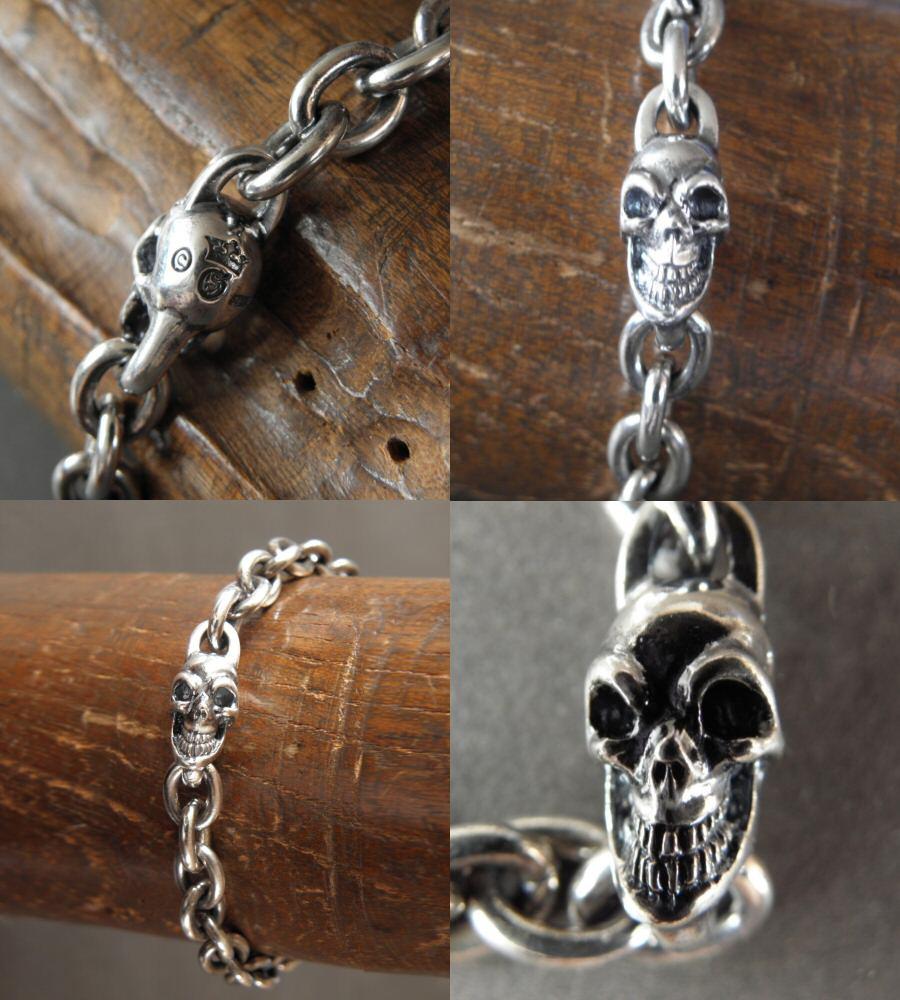 画像2: Quarter Skull On Half Chain Bracelet