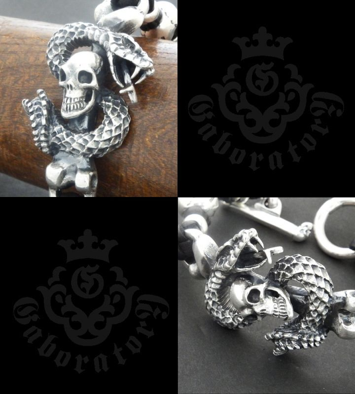 画像3: Skull On Snake With 2Skull On braid leather bracelet