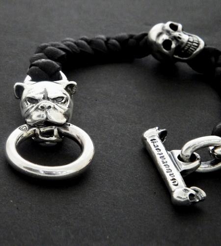 画像2: Bulldog & Skull on braid leather bracelet