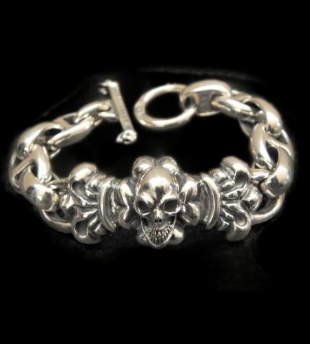 画像1: Skull On 4Heart ID With H.W.O & Anchor Links All Smooth Bracelet