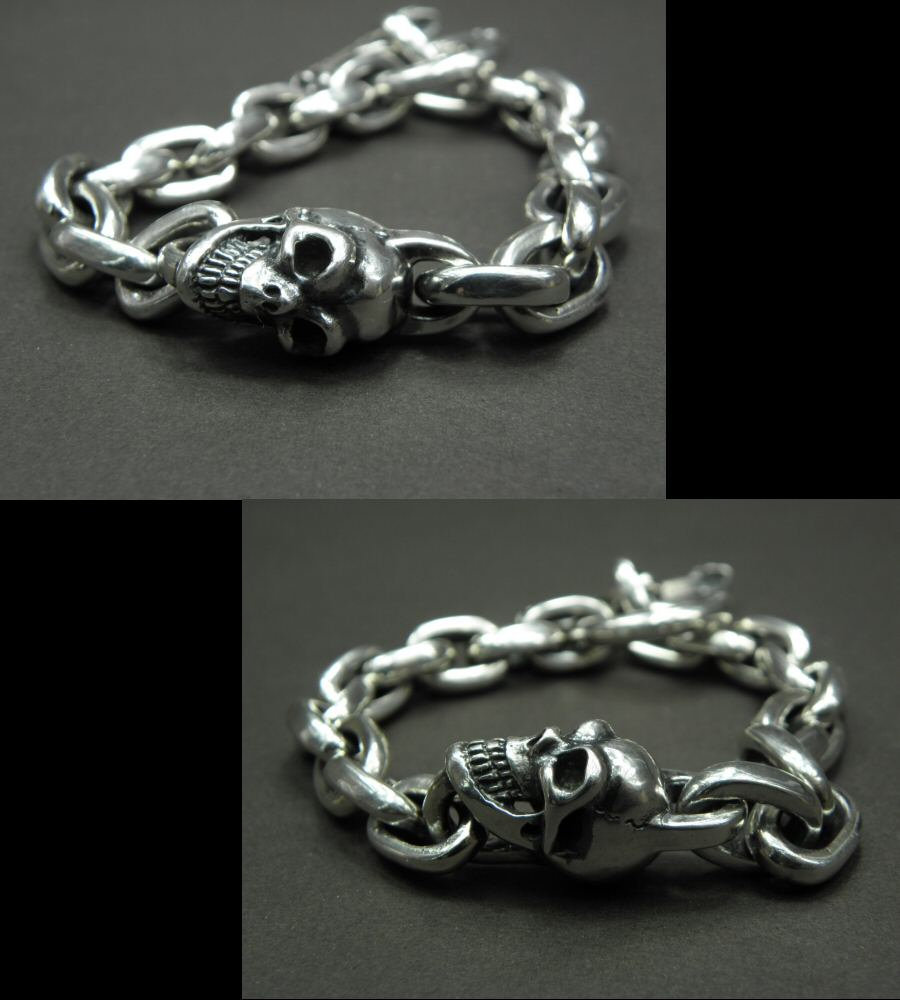画像4: Single Skull With Small Oval Chain Links Bracelet