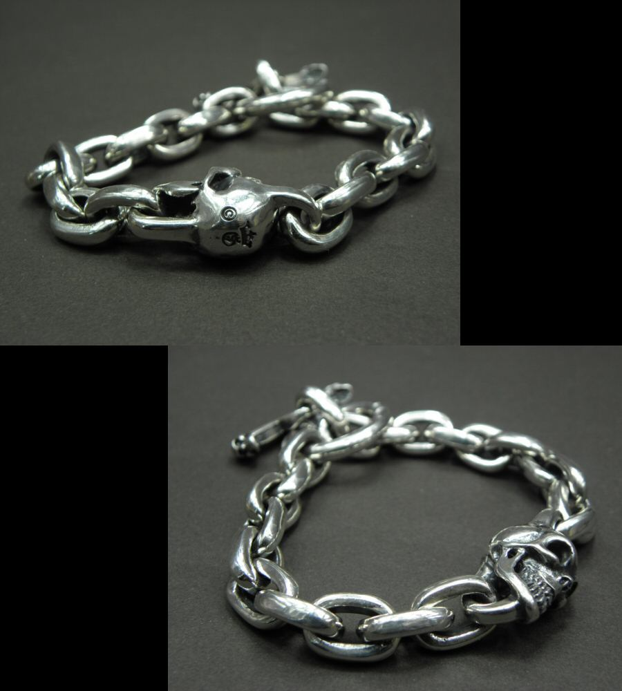 画像3: Single Skull With Small Oval Chain Links Bracelet