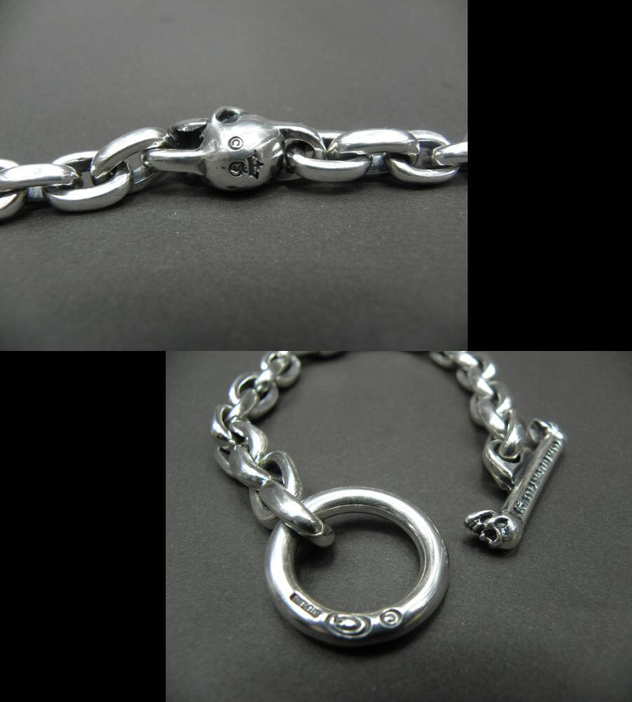 画像5: Single Skull With Small Oval Chain Links Bracelet
