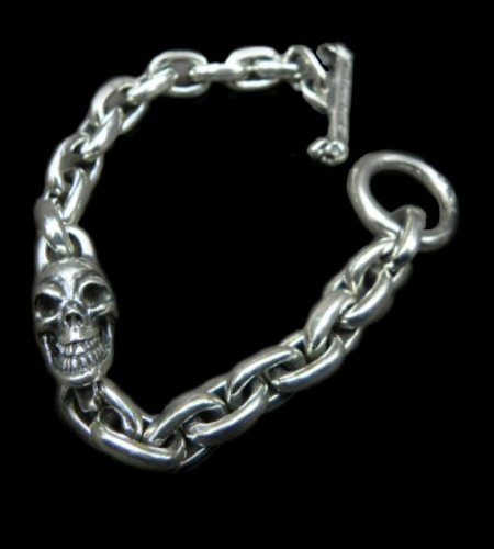 画像1: Single Skull With Small Oval Chain Links Bracelet