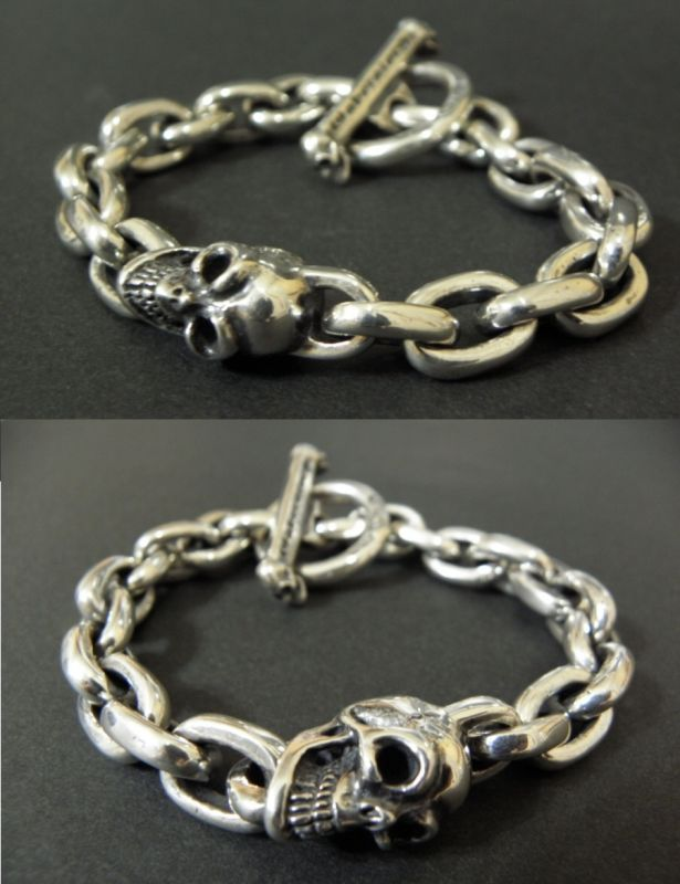 画像4: Single Slant Head Skull With Small Oval Chain Links Bracelet