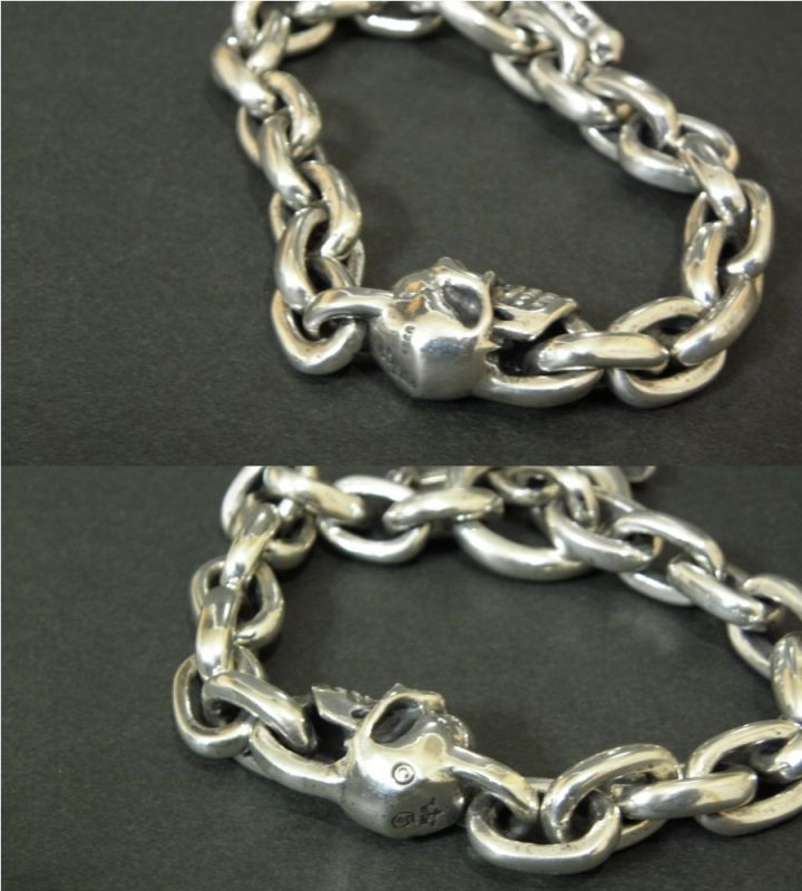 画像3: Single Slant Head Skull With Small Oval Chain Links Bracelet