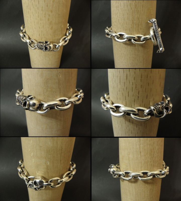 画像5: Single Slant Head Skull With Small Oval Chain Links Bracelet