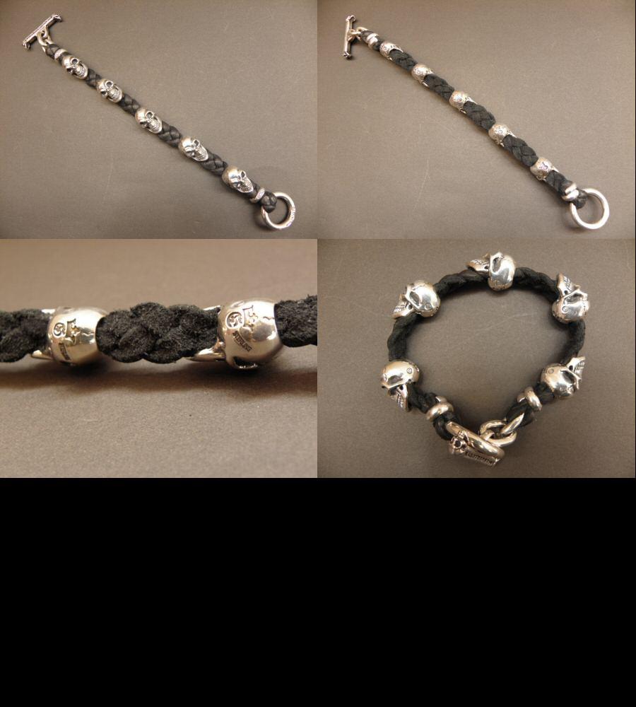 画像4: 5Skulls braid leather bracelet