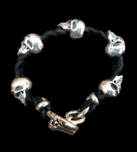 画像1: 5Skulls braid leather bracelet