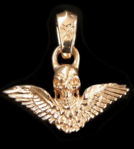 画像1: 10k Quarter Wing Skull Pendant