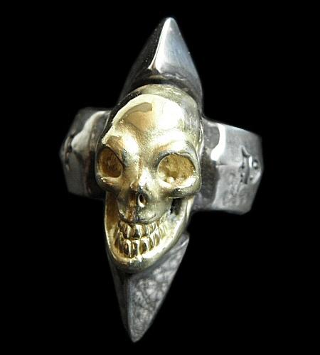 画像1: 18k Gold Skull with Spike Ring