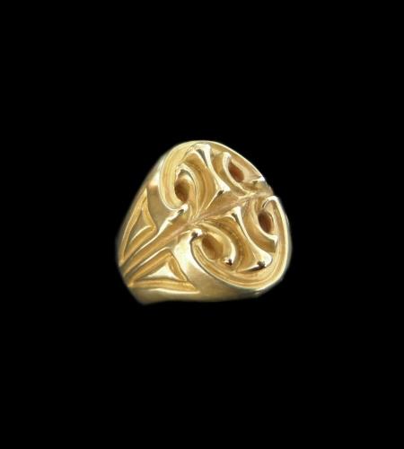 画像1: 10k Gold Sculpted Oval Signet Ring