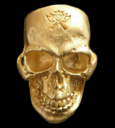 画像1: Gold Large Skull Ring With Jaw (Mat Color Finish)