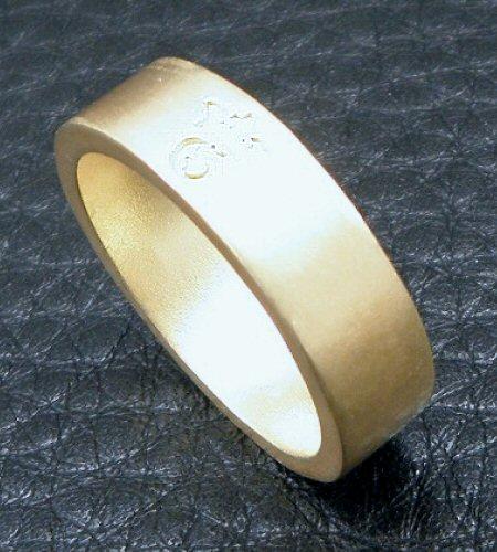 画像3: 10k Gold Flat Bar Ring With Out Maltese Cross (Pure Gold Color Finish)