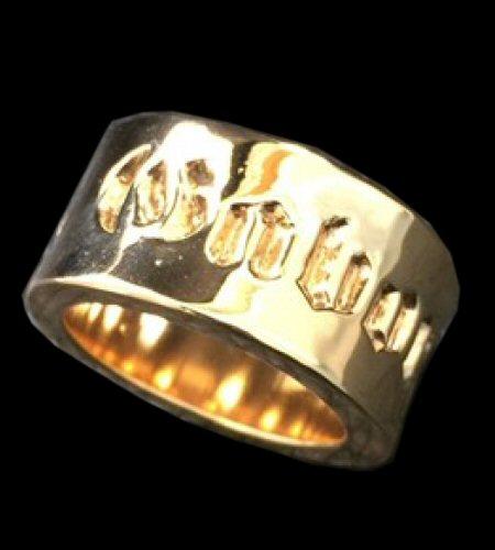 画像1: 10k Gold Wide Gaboratory Cigar Band Ring