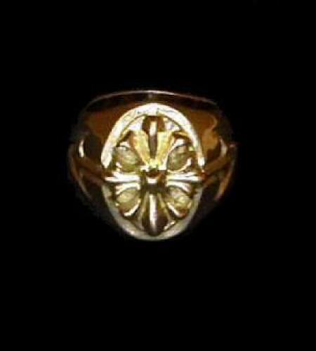 画像1: 18k Cross Oval Signet Ring