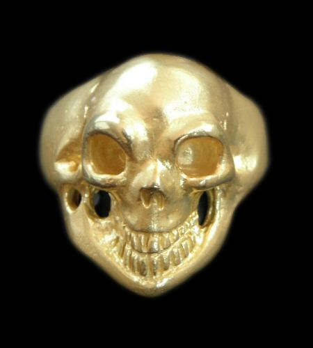 画像1: 10k Gold Old Single Skull Ring (Pure Gold Color Finish)