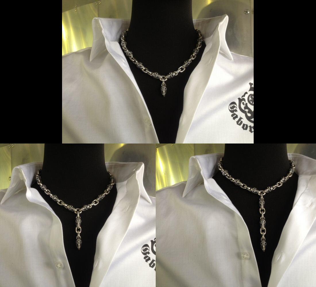 画像5: Quarter Skull & Half Small Oval Links Necklace