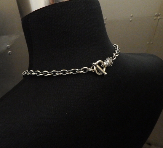 画像2: 7Chain with quarter old bulldog & quarter T-bar necklace
