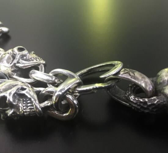 画像3: 2skull & skull wing with small oval links & key ring necklace
