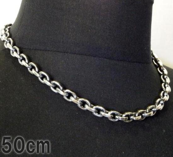 画像1: Half Small Oval Chain & Half T-bar Necklace