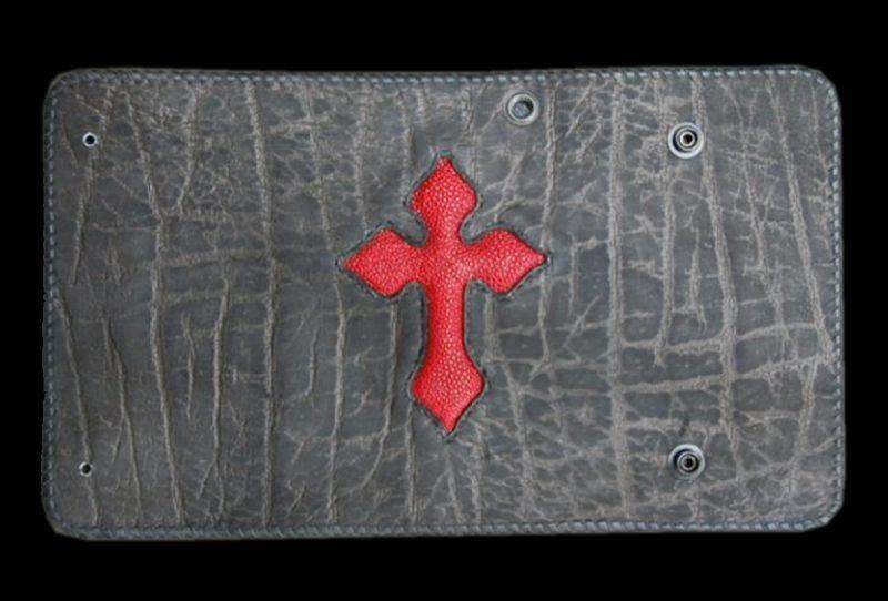 画像1: Stingray 4Heart Cross Inlay Elephant Long Wallet