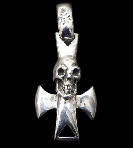 画像1: Skull with round zip cross Pendant