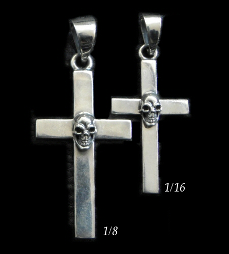 画像1: Skull On Plain Cross Pendant [1/8 , 1/16]