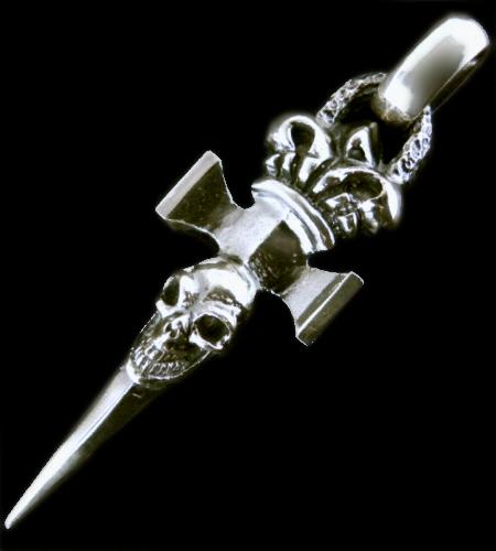 画像1: Crown Single Skull Dagger Square Bottom With Chiseled Loop & H.W.O Pendant