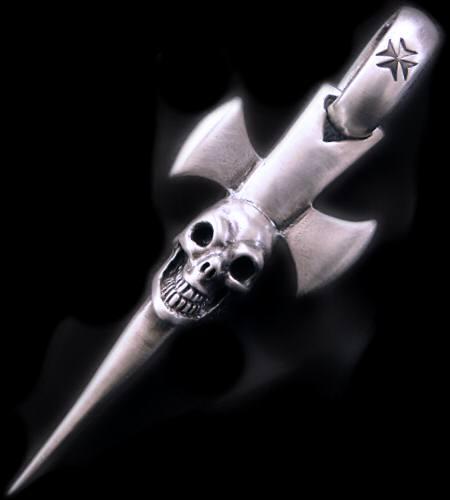 画像1: Single Skull Dagger Round Bottom Pendant (Maltese Cross Stamp)