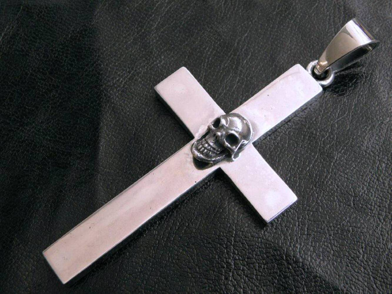 画像3: Skull On Plain Cross Pendant [Full ,  Half , Quarter]