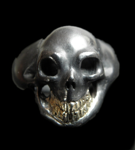 画像1: Black Old Single Skull With 18k Gold Teeth Ring