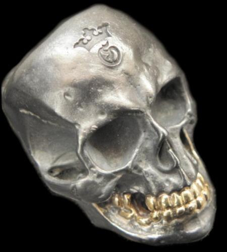 画像1: Large Skull With 18k Gold Teeth Ring