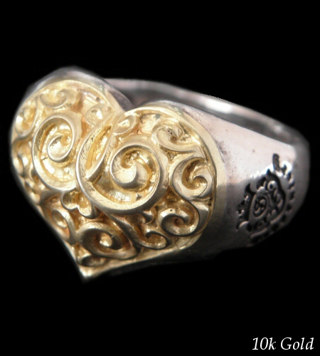 画像1: Gold Heart On Silver Ring