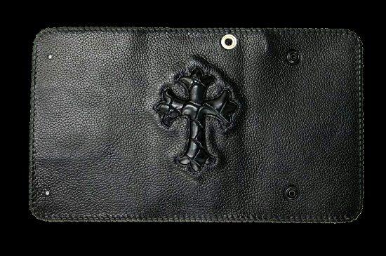 画像3: Crocodile Cross Inlay Buffalo Long Wallet