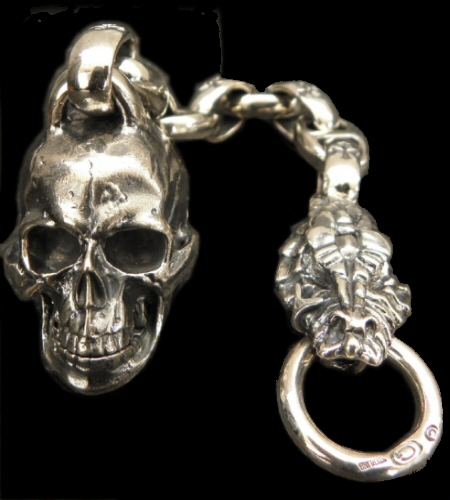 画像1: Large Skull With Half Snake & Maltese Cross H.W.O , Smooth Anchor Links Wallet Hanger