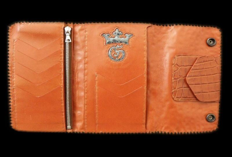 画像1: Frog G&Crown Liner Inlay Crocodile Head & Horn Back Long Wallet