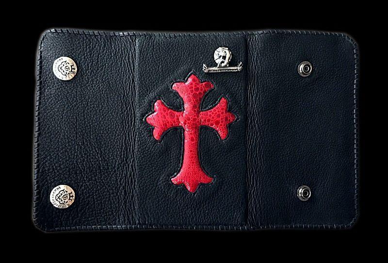 画像1: Frog Cross Inlay Buffalo Long Wallet