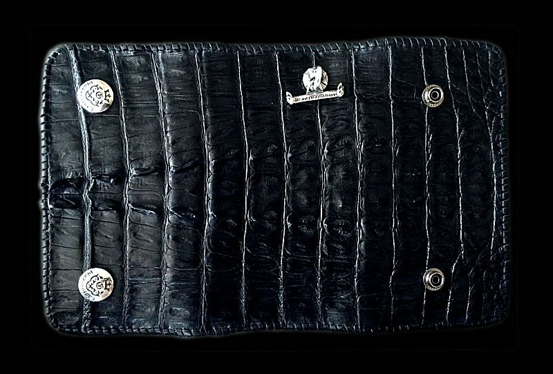 画像1: Crocodile Tail W-Spine Plain Long Wallet