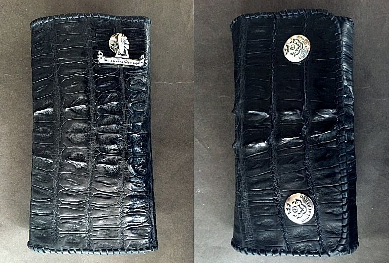 画像3: Crocodile Tail W-Spine Plain Long Wallet