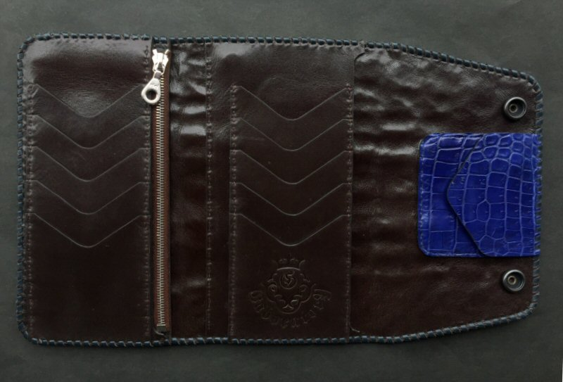 画像2: Crocodile Tail W-Spine(L) Long Wallet