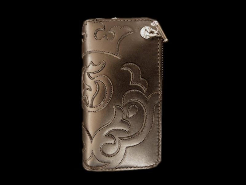 画像1: Atelier Mark Overlay Saddle Leather Round Zip Wallet (Black)