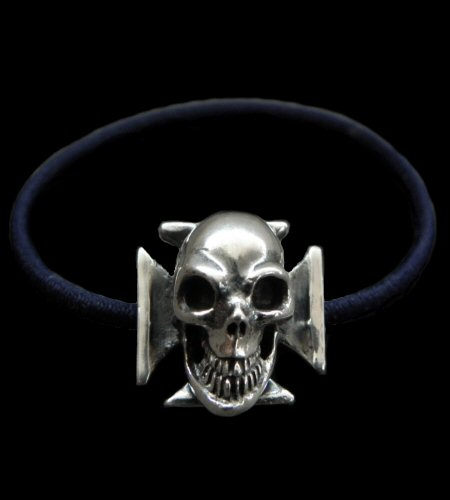 画像1: Skull On Iron Cross Hair Band