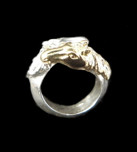 画像1: 18k Gold & Silver Horse Triangle Wire Bangle Ring Platinum Finish