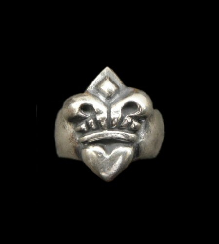 画像1: Quarter Single Heart Crown Ring