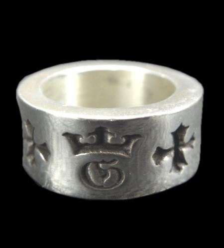 画像1: Wide G&Crown Gothic Cigar Band Ring