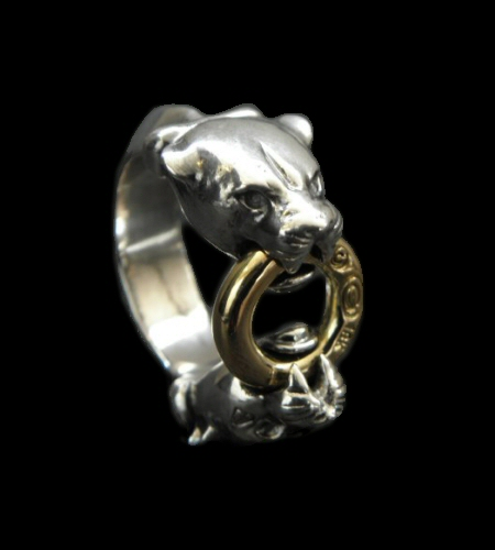 画像1: 18k Gold Ring With Quarter Panther Triangle Wire Bangle Ring